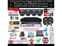 4 Cameras QVIS Full HD CCTV KIT, 4CH FULL HDCVI DVR, 4x QVIS 2.4MP Dome Cameras