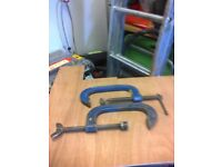 Heavy duty g clamps. 6 inch jaws.