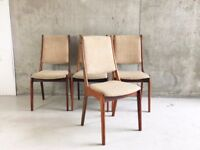 Set of 4 Danish 1960's Kai Kristiansen dining chairs for Korup Stolefabrik