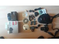 Canon EOS 400D camera kit, with 18-55mm and 70-300mm telephoto lense, plus accesories.