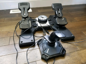 Joystick and rudder pedals for computer