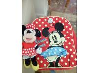 Minnie mouse backpack and toy