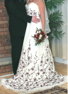 Wedding dress with vail