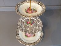 White, Gold and Pink Vintage Bone China 3 Tier Cake Stand.