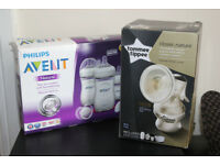 Tommee tippee manual breast pump & Philips AVENT Natural Bottle Newborn Starter Set -Brand New