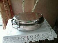 OVAL STAINLESS STEEL ROASTING PAN DISH WITH LID