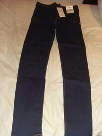 Womens indigo super high waist skinny jeans new