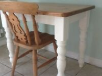 Pine farmhouse breakfast /office table & chair