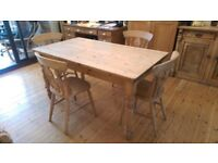 Farmhouse Unvarnished Solid Pine table and 4 Chairs