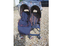 MACLAREN double baby stroller pushchair with rain cover, cosytoes and shopping net.