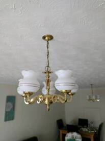 Brass hanging lights- pair