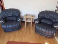 Three piece leather suite { armchairs recliners }