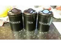 Tea,suger,coffee pots £4