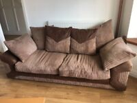 brown 3 seater fabric sofa for sale. Barely used