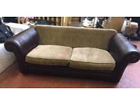 DFS Double Leather & Fabric Sofa Bed