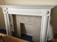 Fireplace with marble surround and hearth