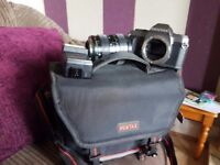 Pentax camera and lens + flash and carrying bag approx 1988 hardly used in very gd cond