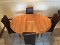 Solid Wood Extending Table And 4 Chairs