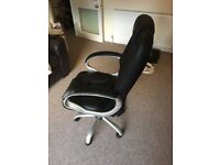 Black office desk chair, very comfy, with optional tilt feature and wheels