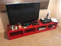 RED LACK TV SHELVING UNIT