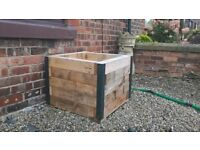 large solid wood flower box