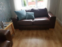 two Reid furniture brown leather sofas 2200mm long and 1800mm long