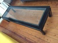 ***Long Wooden Coffee Table with Glass Top***