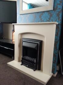 Cream electric fireplace
