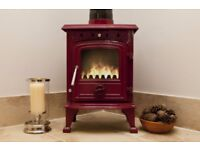Red wood burning stove