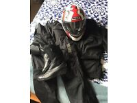 Women's Small Motorcycle Clothing: trousers, jacket, boots and helmet. Hardly worn, good condition.