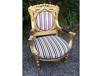 LARGE GILDED FRENCH ARMCHAIR