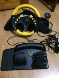 Steering wheel and foot pedals