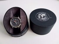 CITIZEN ECO-DRIVE CHRONOGRAPH AT0360-50L WATCH -NEW TISSOT BLACK LEATHER STRAP- VERY GOOD CONDITION