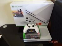 X Box One 500Gb with one controller and 7 Top Games - Boxed and in great condition