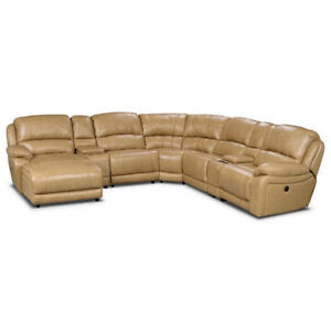 Cindy Crawford 7 Piece Sectional Toffee Couch