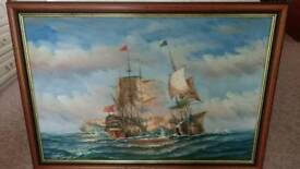 Oil painting ships
