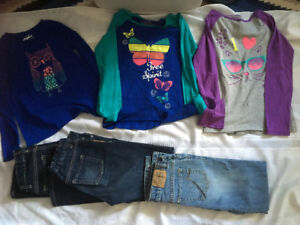 3 children's place long sleeve tops plus 3 pairs jeans