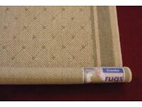 "NEW FLATWEAVE RUG 47"" X 68"" - BEIGE AND SAGE GREEN"