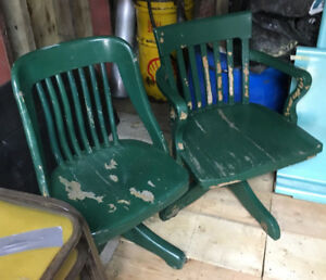 2 Antique Swivel Wooden Chairs