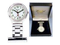 Brand New Woodford Nurses Fob Watch Chrome-Plated, Quartz Movement (1219)