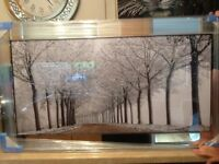 Extra Large Mirrored Framed Diamonte Picture
