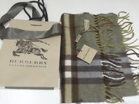 Burberry genuine cashmere scarf new with tags and bag