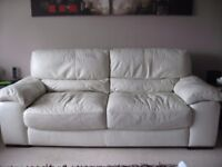 CREAM/IVORY LEATHER SOFA AND 1 ARMCHAIR IN GOOD CONDITION