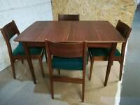 Retro vintage, mid century modern, extending dining table and 4 chairs