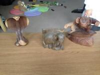 Carved wooden animal figures