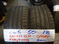 MATCHING PAIR 245 50 18 DUNLOP SPORT RUN/FLATS 6mm TREAD £80 PAIR SUP & fittd 7dys (punct £8)