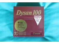 Box of 10 DYSAN MF2DD 3.5 inch disks in plastic case - unused and cellophane wrapped