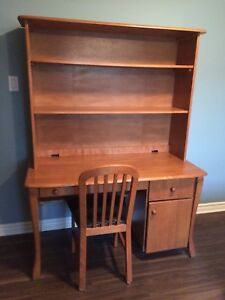 MOVING!! Solid wood desk with shelves and leather chair