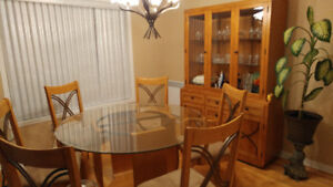 Dining set table Glas6 chairs Buffet Wood