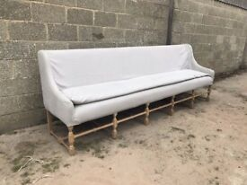 Rare French Oak Antique Bench With New Linen Seat And Cushion